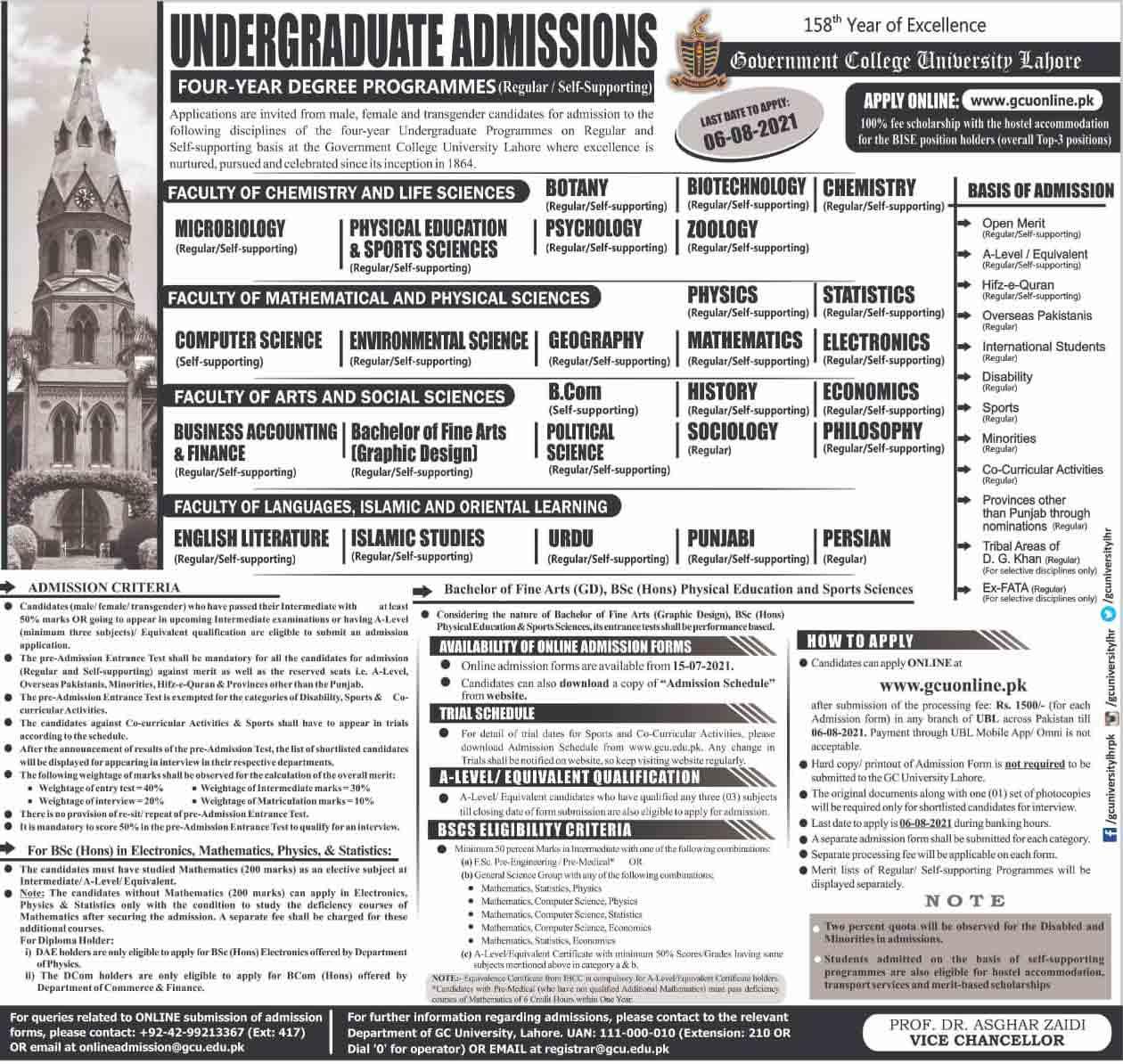 GCU-Lahore-Undergraduate-Admission-2021