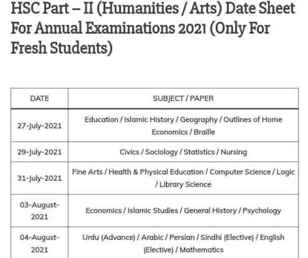 Karachi-Board-Humanities-Date-Sheet-2021