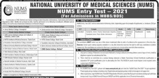 NUMS-MBBS-MDCAT-2021