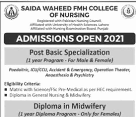 Saida-Waheed-FMH-College-of-Nursing-Merit-List-2021