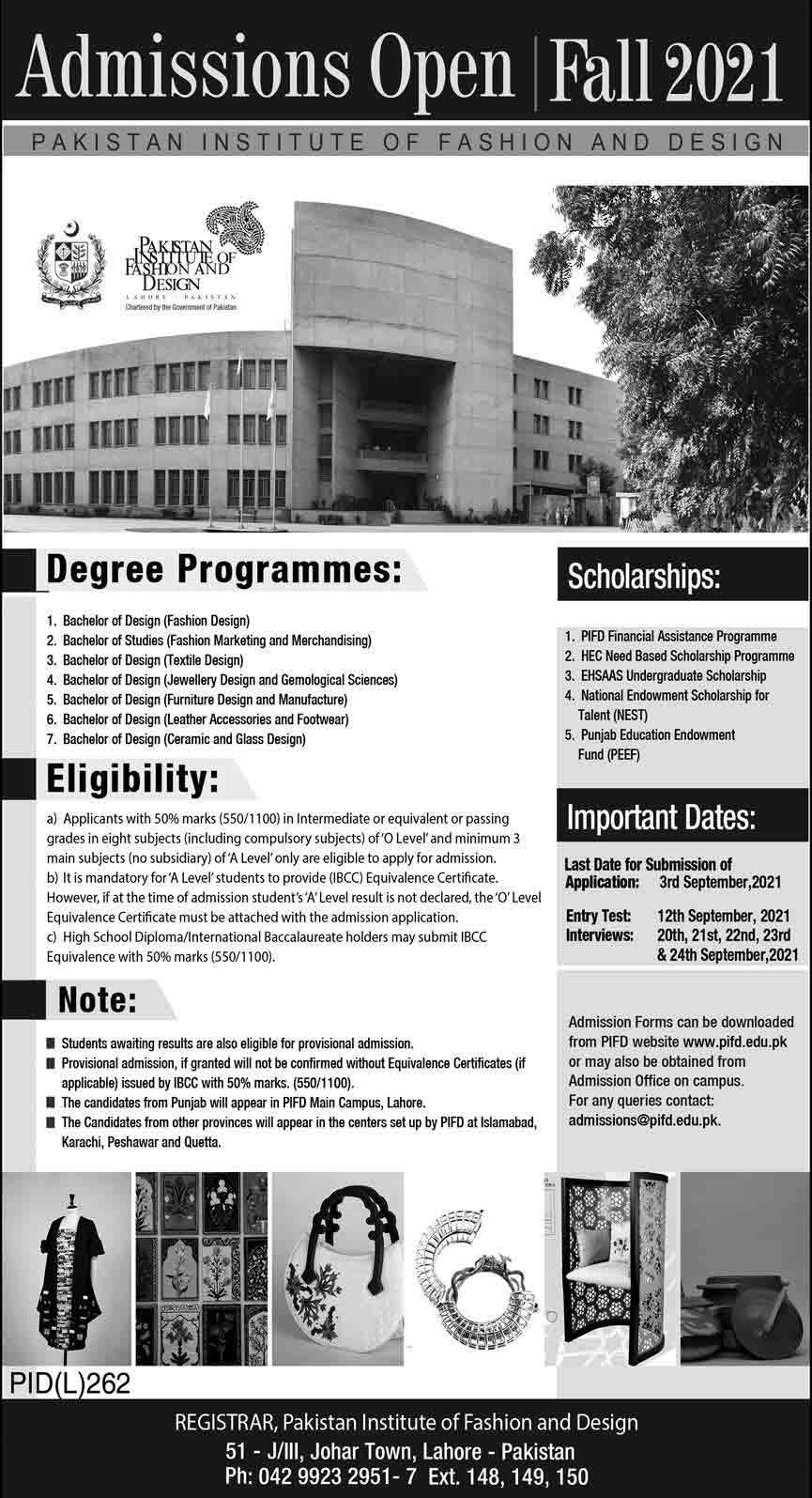 PIFD-Lahore-Admission-2021